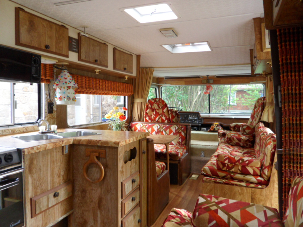 Vintage Motorhome Interior 1980 Kitchen Area And Sofa