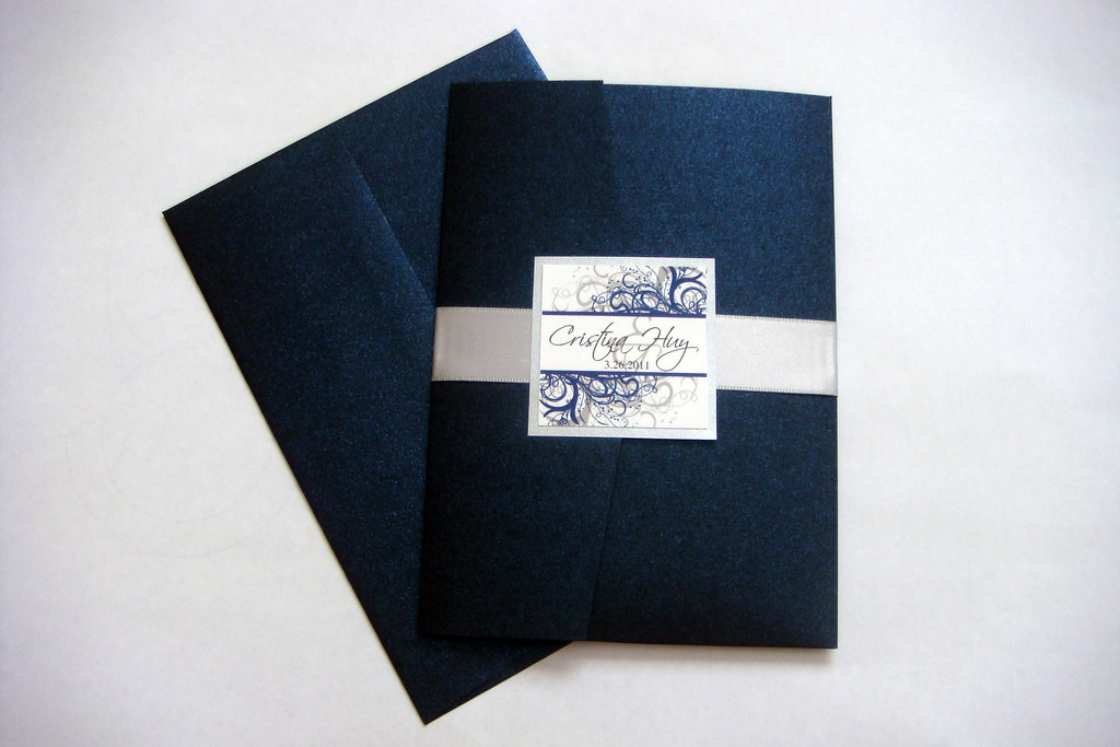 Navy Blue And Silver Wedding Invitations: Blue (Navy) And Silver Wedding Invitations