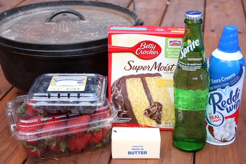 Dutch Oven Cobbler ingredients | by Completely Delicious