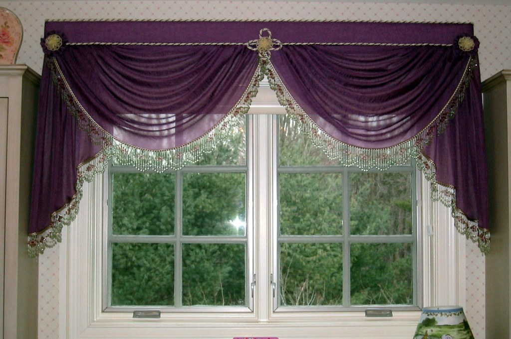 Gathered Sheer Swags And Jabots With Beads Padded Valance