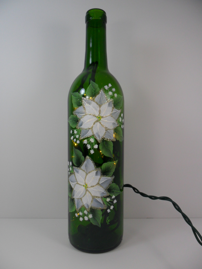 Lighted wine bottle two white poinsettias hand painted 750 for Hand painted bottles