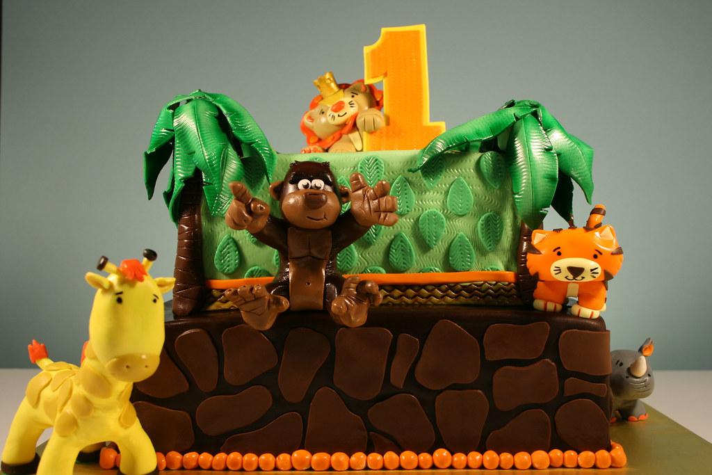 Jungle Animal Theme 1st Birthday Cake Design Inspired Off Flickr