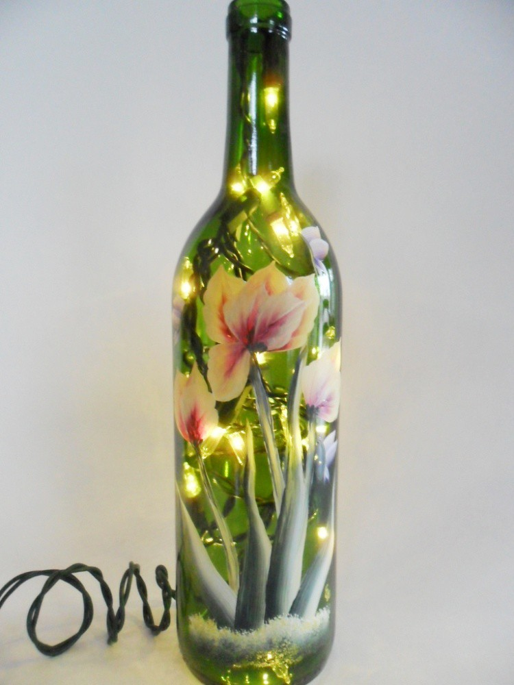 Lighted wine bottle parrot tulips hand painted 750ml for Painting flowers on wine bottles