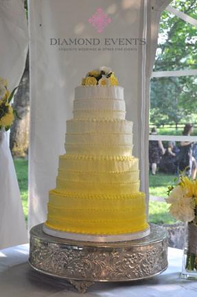White To Yellow Fading Wedding Cake Diamond Events