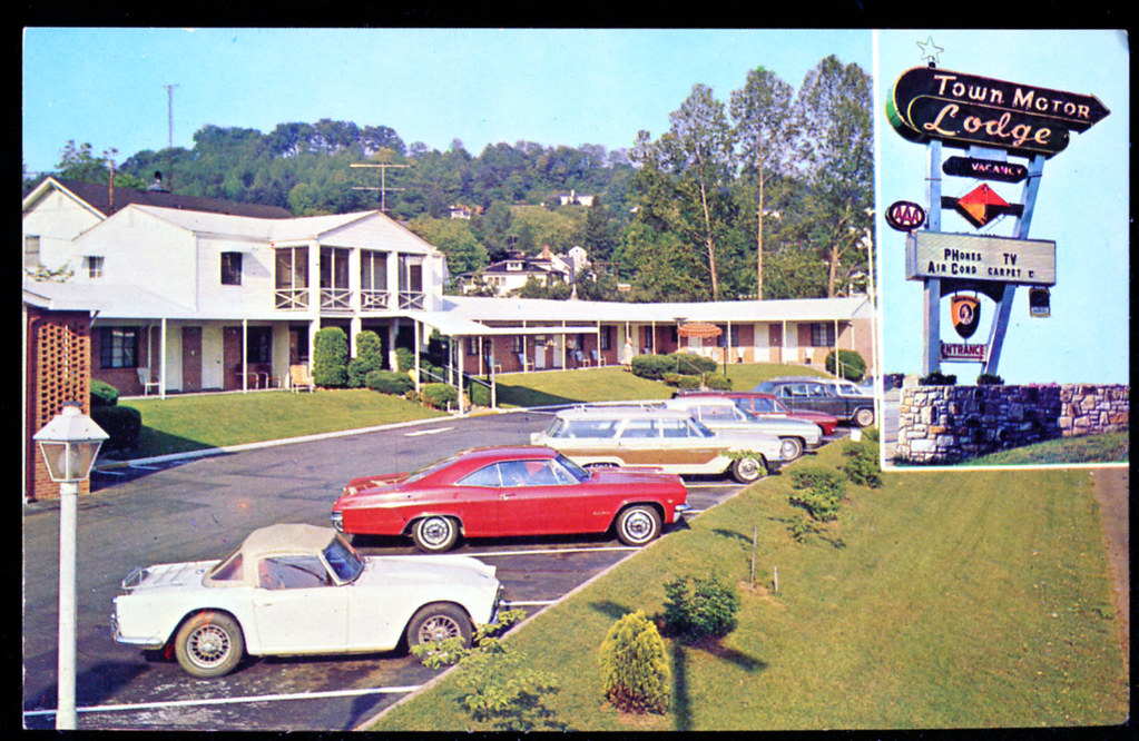 town motor lodge asheville nc postcard 1960s