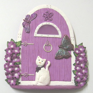 Pink and white fairy door listed in my folksy shop flickr for White fairy door