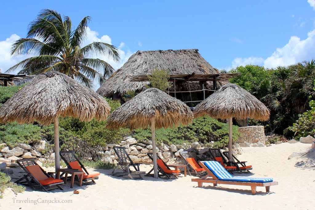Beach at azulik villas in tulum mexico cameron wears for Villas tulum