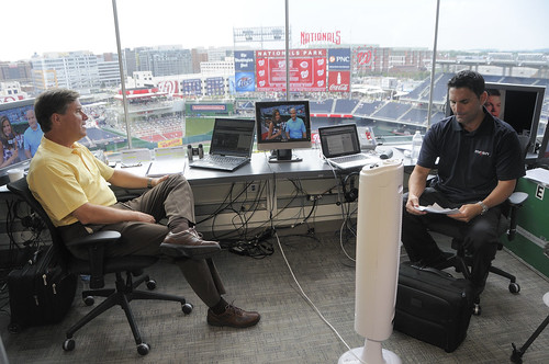 Bob and F.P. in the Broadcast Booth | by Scott Ableman