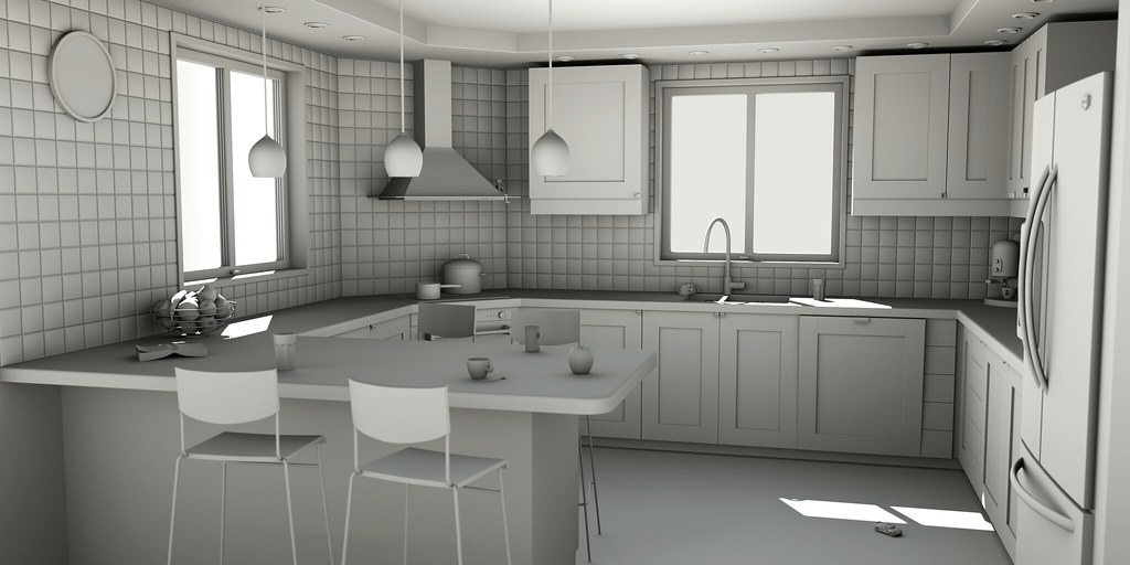 """WIP - Kitchen - Clay render 