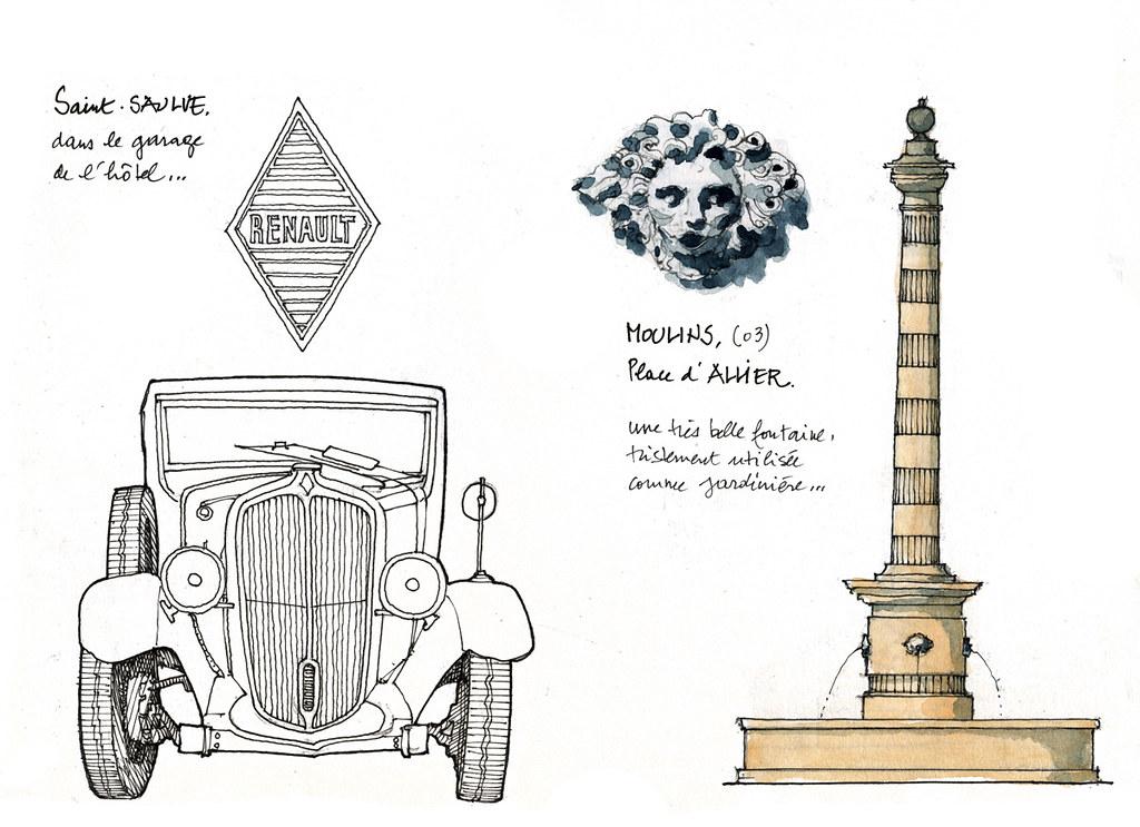 03 moulins fontaine et une renault dans le garage de g rard michel flickr. Black Bedroom Furniture Sets. Home Design Ideas