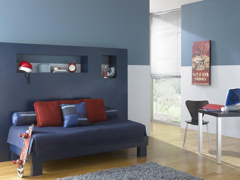 Modern Youth Room Upper Wall Smokey Blue 540f 5 Lower