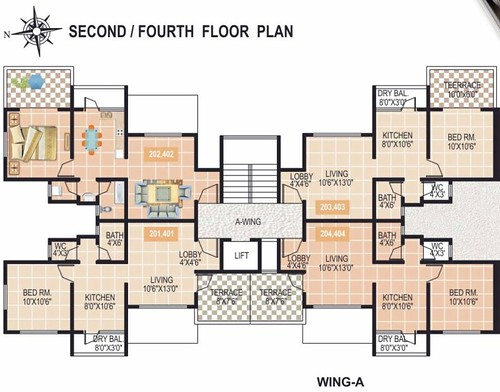 Gardenia 1 bhk 2 bhk flats at sus goan pune a wing 2nd for 1 bhk flat floor plan