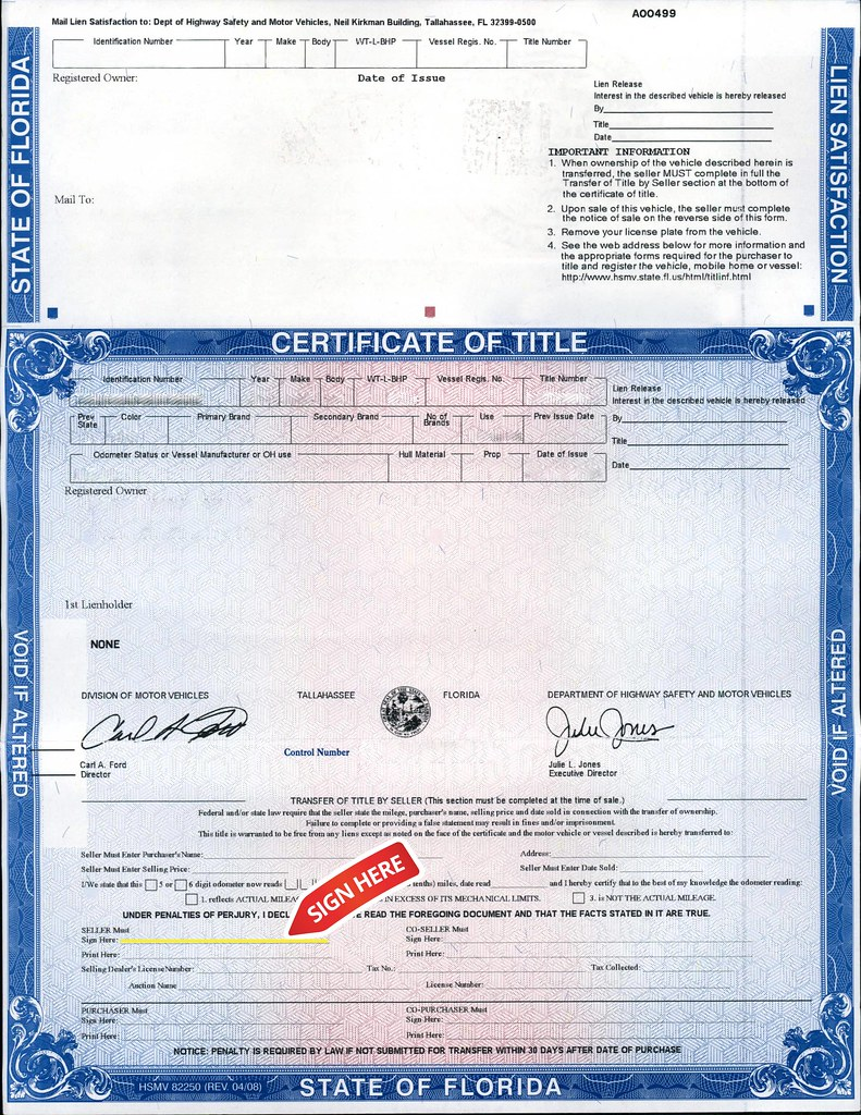 Florida title sign your name as it appears on the title for Where can i get a motor vehicle report