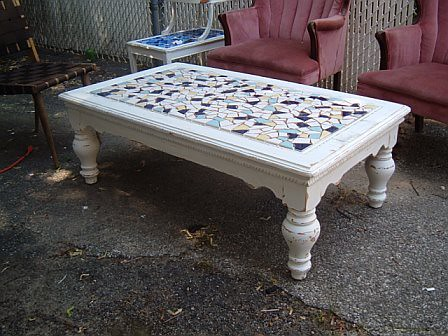 distressed white shabby chic coffee table mosaic top | Flickr