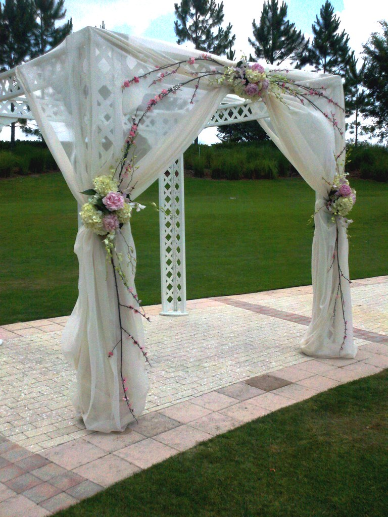 Wedding Arbor Pink Peonies With White Hydrangea And Silk