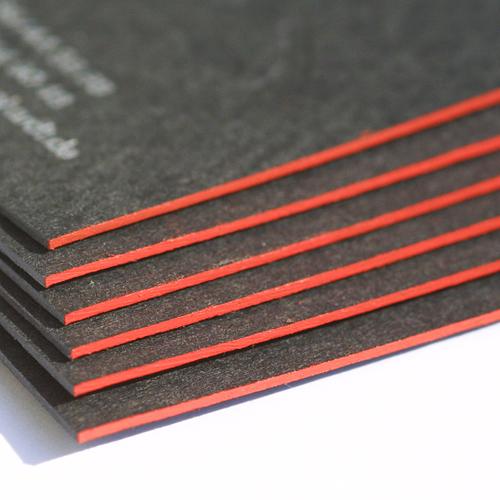 Farbschnitt Schwarze Visitenkarte Mit Rotem Farbschnitt W