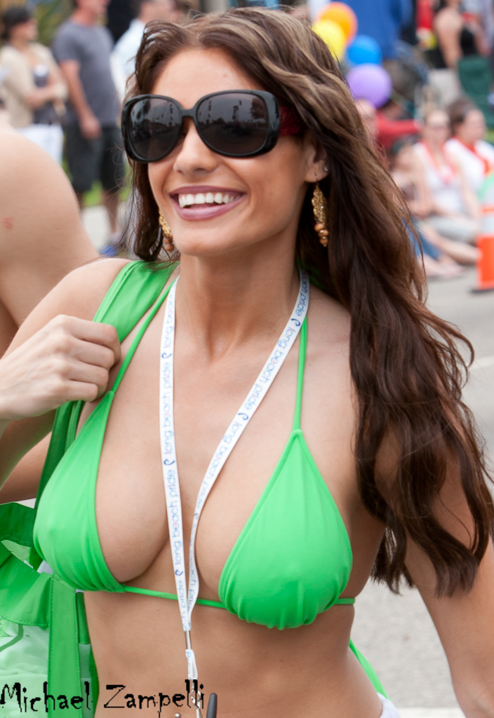 Girl in green bikini