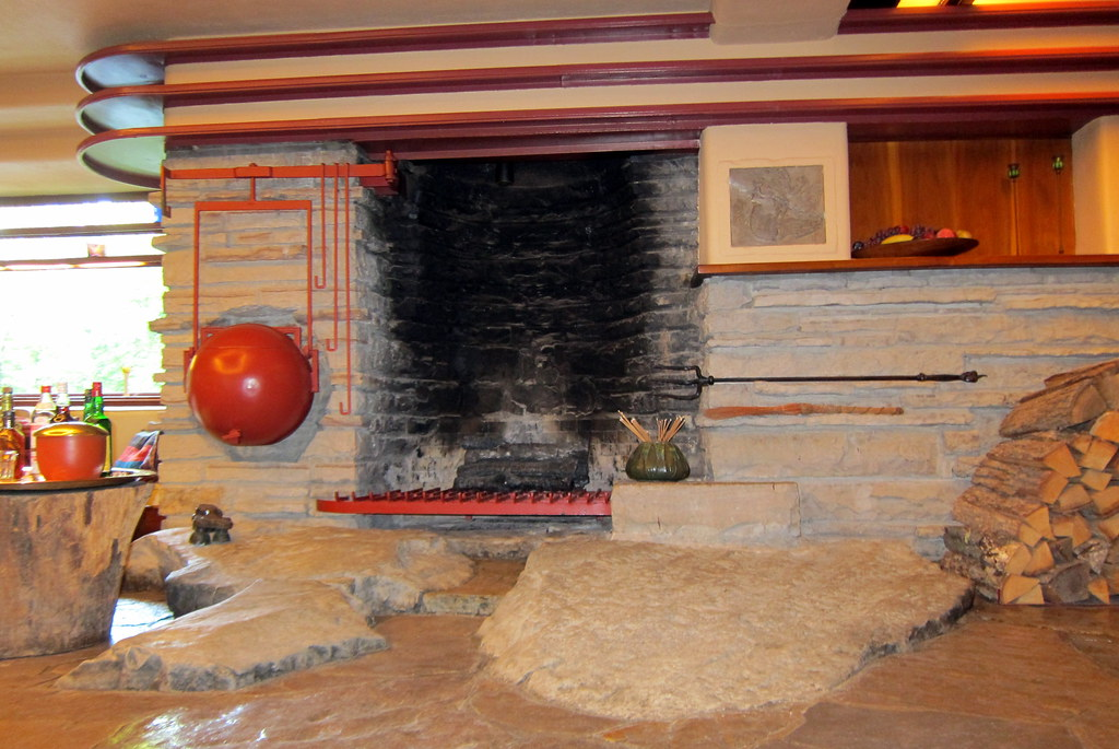 PA - Mill Run: Fallingwater - Living room fireplace and ke ...