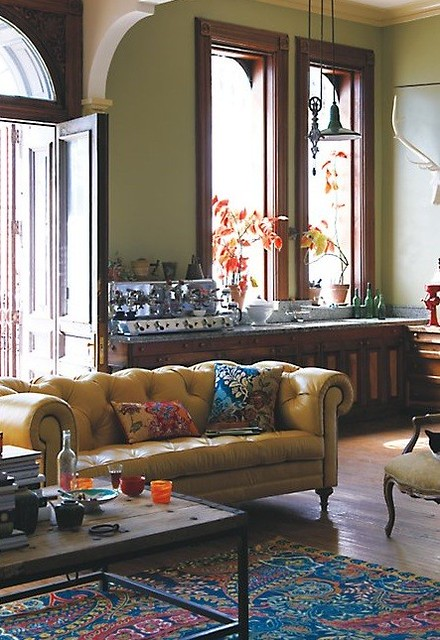 Anthropologie eclectic bohemian traditional vintage for Contemporary and traditional living room
