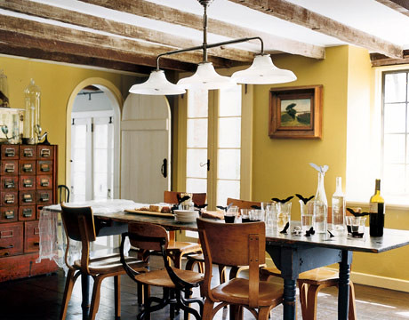Yellow dining room: Vintage card catalog + exposed beams + Thonet chairs | by SarahKaron