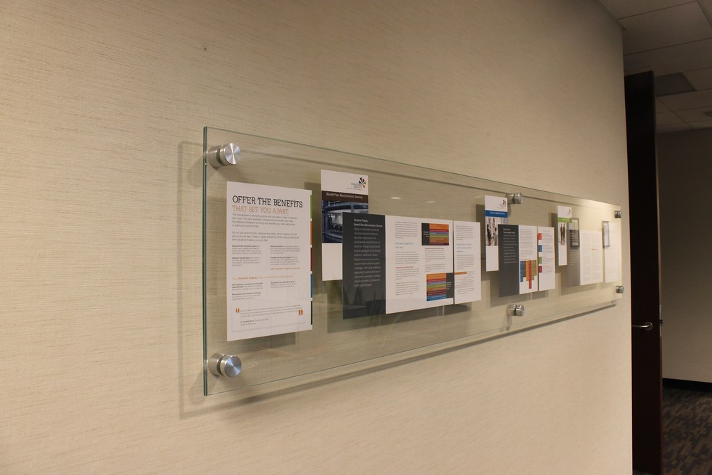 brochure display for corporate office glass with stainles