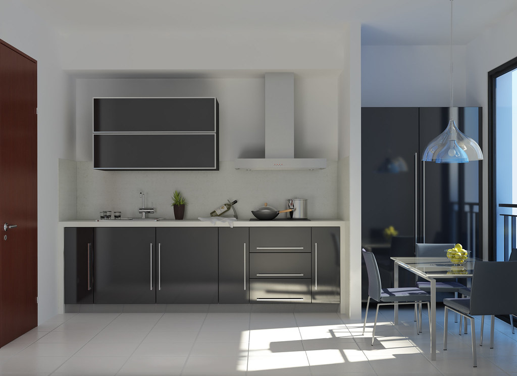 Traditional White Kitchen Design 3d Rendering: Modern Kitchen Decoration - 3D Max + Vray Render