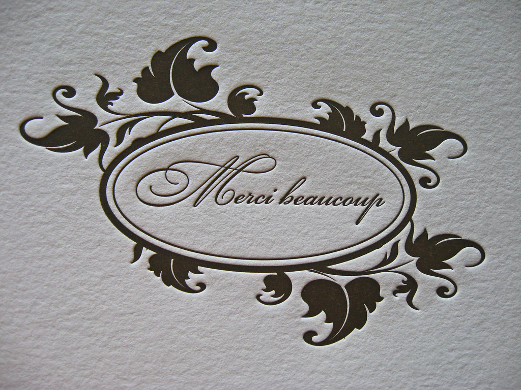 merci beaucoup letterpress thank you cards