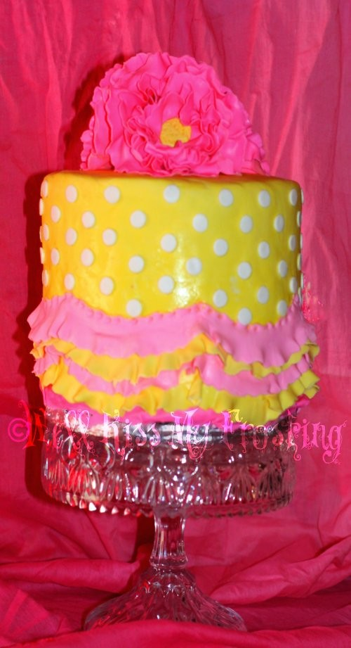 Pink and Yellow Birthday Cake | Made for my Mommy-N-Law's ...