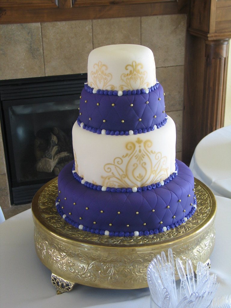 4 tier Purple and Gold Wedding Cake | Rick | Flickr