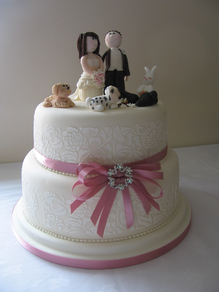 2 tier wedding cake with bride and groom topper and ivory Flickr
