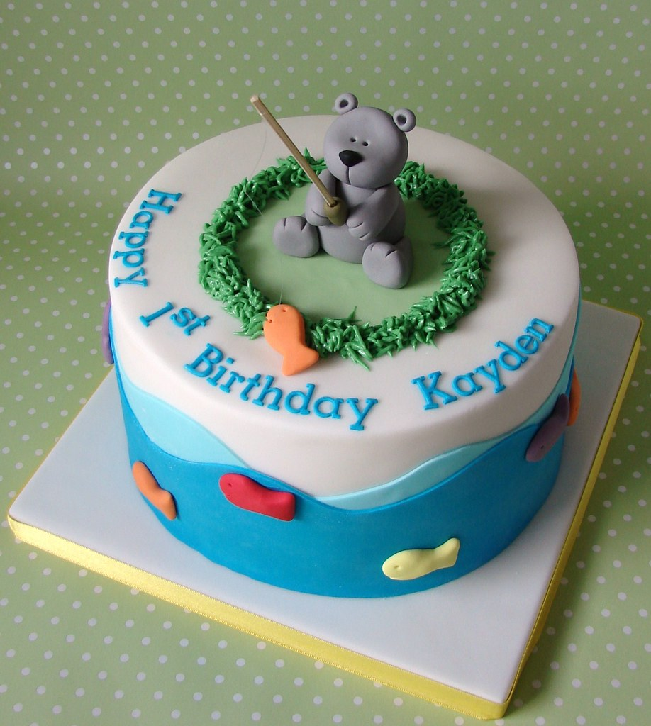 Teddy bear fishing themed birthday cake for kayden flickr for Fishing themed cakes