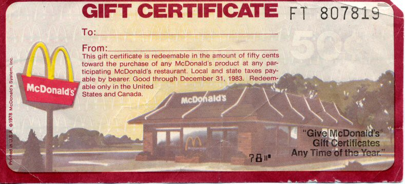 McDonald's Gift Certificate 1978 | One of my teachers at Cla… | Flickr