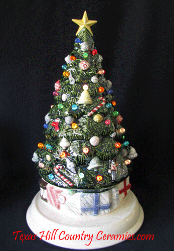heirloom ceramic christmas tree with hand painted ornaments by texas hill country ceramics gifts - Ceramic Christmas Ornaments