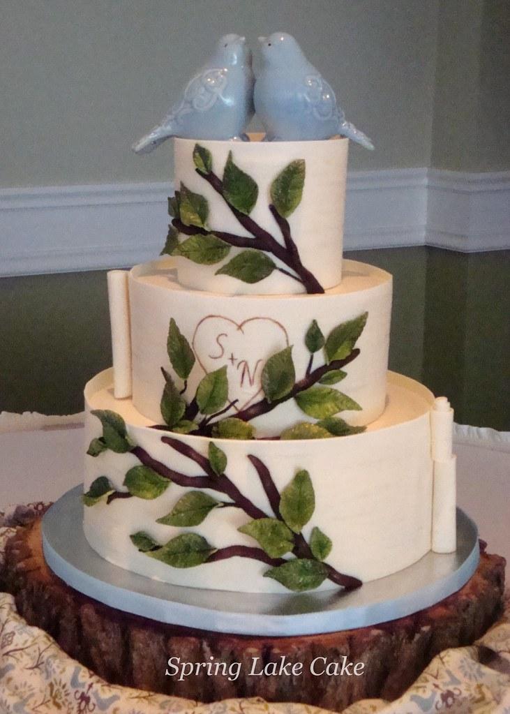 Love birds wedding cake for a nature themed wedding the c flickr love birds wedding cake by springlakecake junglespirit Gallery