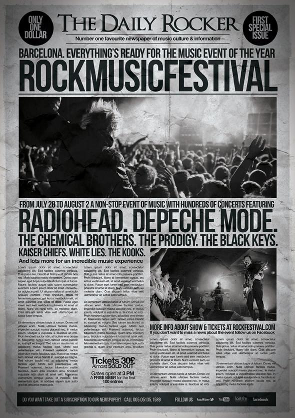 Grunge Newspaper Poster Template Download Link Graphicriv Flickr
