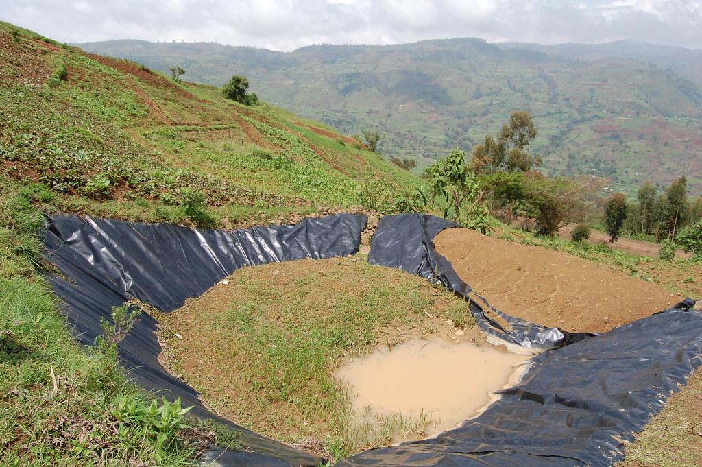 water harvesting pond in disrepair in the ethiopian highla