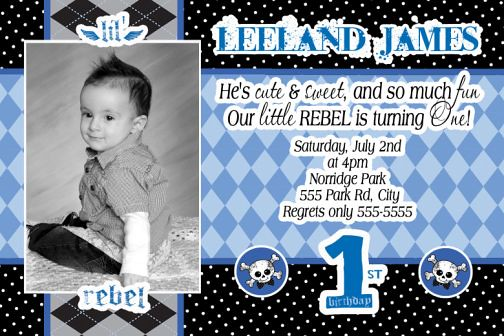 Little Lil Rebel Boys Birthday Invitations Party Supplies Decorations
