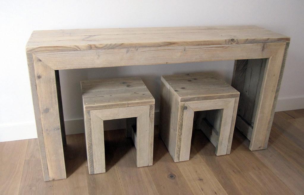 Sidetable 150 x 40 x 80 cm plus krukjes steigerhout for Sidetable steigerhout
