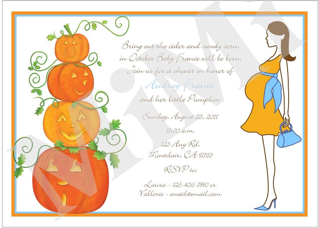 Mom And Pumpkin Baby Shower Invitations Mom And Pumpkin Ba Flickr