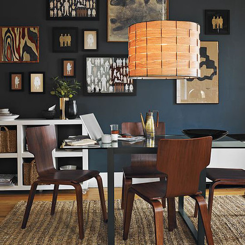 West elm black white and beige modern dining room with b for Black dining room walls