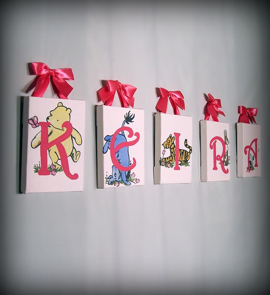 Wall Decorations With Ribbon : Winnie the pooh wall art with ribbon hangers for