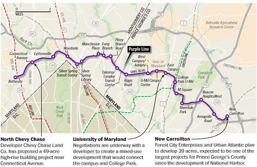 Purple Line routing and station map