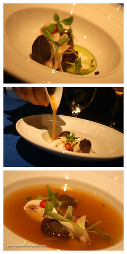 hot and sour broth, pork belly, tomato ginger at Grant Achatz's Next Restaurant | by yumcat