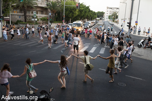 """Dancing in the street"" blocking roads action, Tel aviv, 30/08/11 
