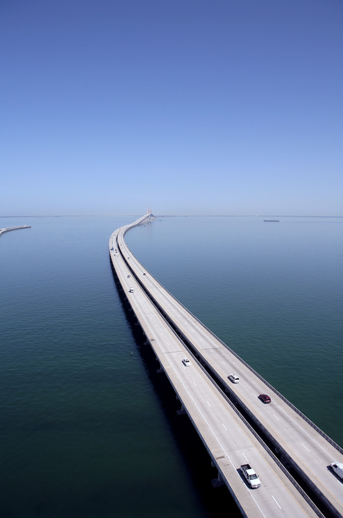 Aerial Photo Of Sunshine Skyway Bridge Tampa Bay Scenic