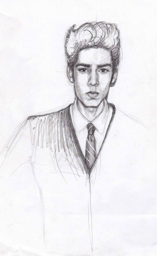 Pencil sketch of retro fashion boy by girl eats art