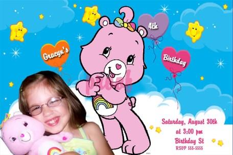 Care Bears Hearts Rainbows Birthday Invitation