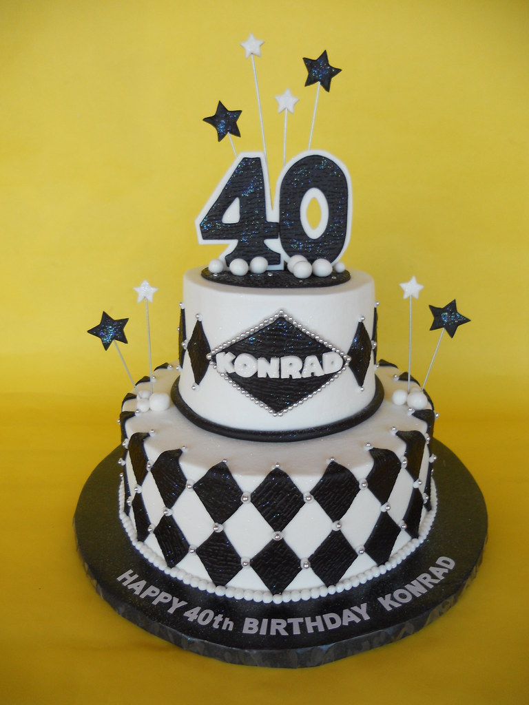 Black And White 40th Birthday Cake