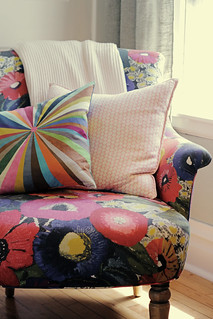 Blythe Chair with Pillows and a Throw Blanket | by Nicole Balch