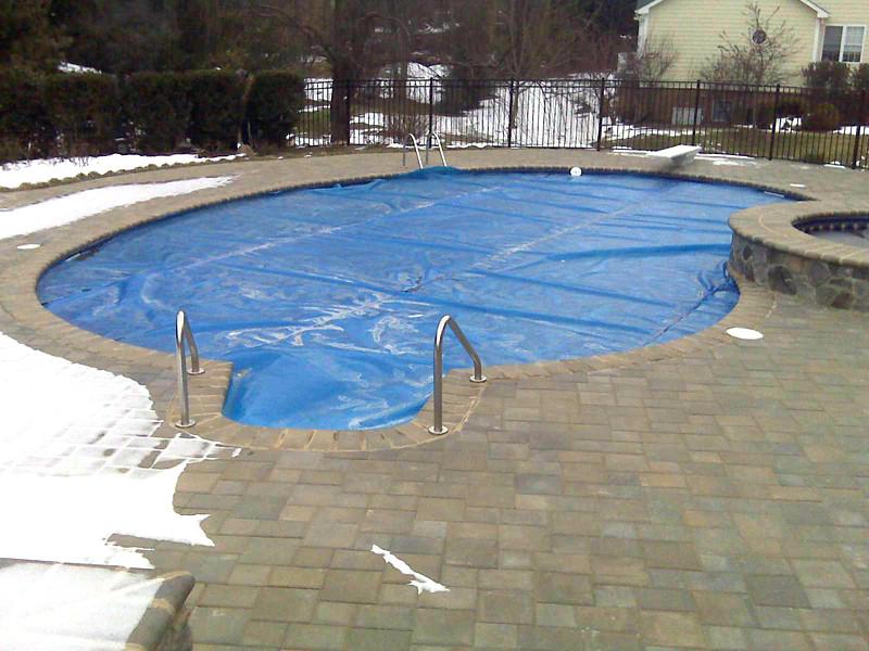 Inground Swimming Pool Kidney Paver Deck 01 Medallion Ingr Flickr